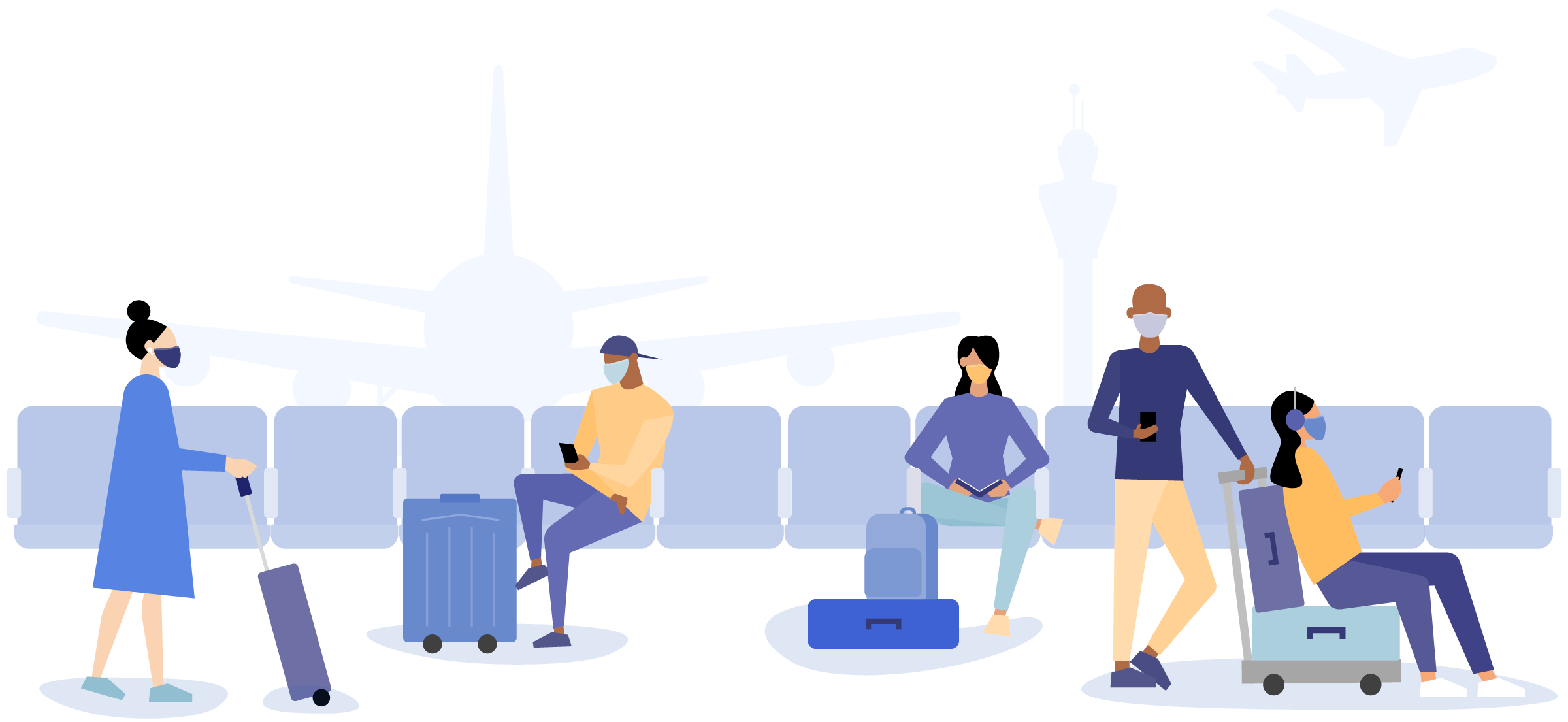 Illustration of 6 people waiting at the airport waiting for their group flight